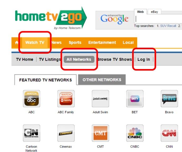 """Step 2: HomeTV2Go.com is your one-stop-shop for news, local events and Video programming! You will find a list of Video programming available if you click on """"Watch TV"""" then """"All Networks""""."""