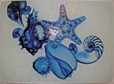 Glass Cutting Board: Blue Seash