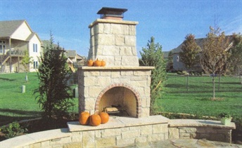 Mason-Lite outdoor fireplace